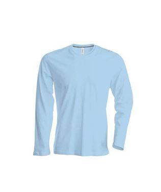 Heren T-shirt lange mouw met ronde hals Lichtblauw maat L