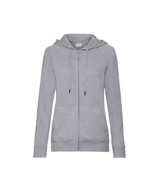 Russell Ladies HD Zipped Hood Sweat Silver Marl maat M