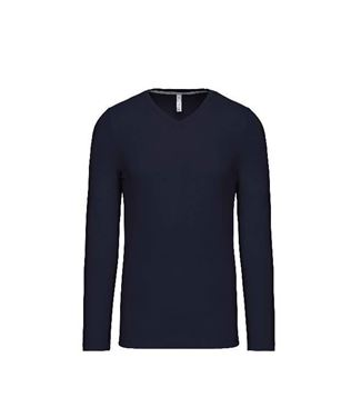 Heren T-Shirt Lange Mouw Met V-Hals Navy Maat L