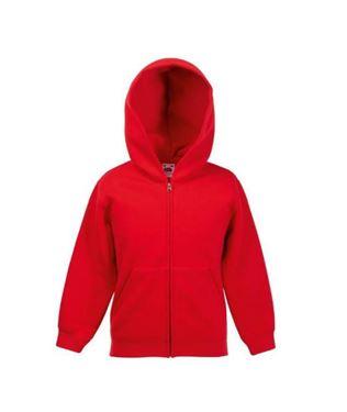 Kids hooded sweat jacket fruit of the loom Red maat 128
