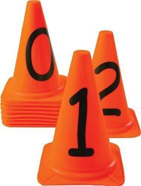 Genummerde Pionnen Oranje 23 cm hoog