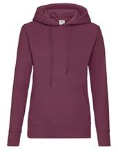 Fruit Of The Loom Classic Lady-Fit Hooded Sweat Burgundy