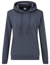 Fruit Of The Loom Classic Lady-Fit Hooded Sweat Heather Navy