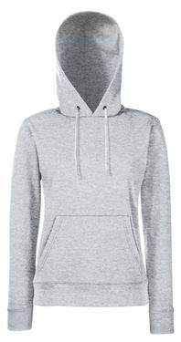 Picture of Fruit of the Loom Classic Lady-fit Hooded Sweat Heather Grey maat XS